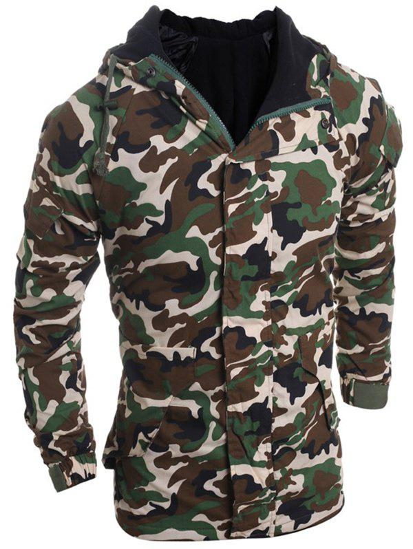 Outfits Modish Loose Fit Hooded Multi-Pocket Camo Pattern Long Sleeve Thicken Cotton Blend Coat For Men