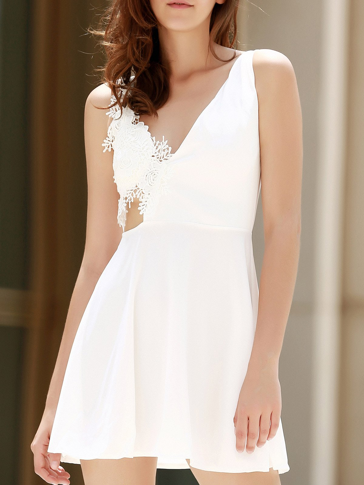 Chic Alluring Sleeveless Plunging Neck Backless Solid Color Women's Dress
