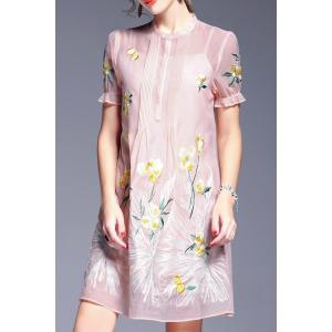 Perspective Floral Embroidery Dress and Cami Tank Top - Pink - Xl