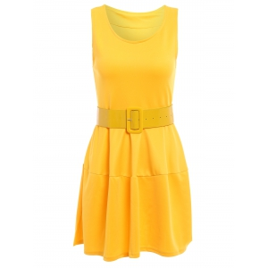 Sweet Scoop Neck Ruffles Candy Color Sleeveless Women's Dress