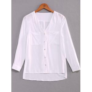 V-Neck Long Sleeve Double Pockets Shirt