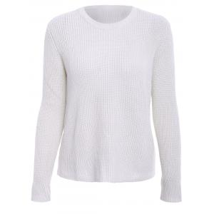Basic Round Collar Long Sleeve Solid Color All-Match Women's Knitwear - Off-white - M
