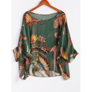 Batwing Sleeves Feather Print Casual Flowy Blouse -