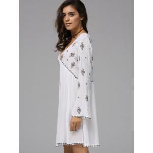 Fashionable Plunging Neck Long Sleeve Embroidered Dress For Women -