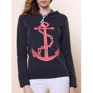 Casual Hooded Anchor Print Long Sleeve Hoodie For Women - Black Grey - Xl
