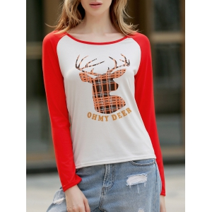 Christmas Slash Neck Long Sleeve Deer Pattern T-Shirt For Women