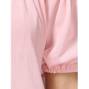 Charming Off-The-Shoulder Puff Sleeve Bowknot Women's Blouse - LIGHT PINK XL
