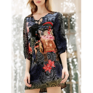V Neck Flower Ethnic Print 3/4 Sleeve Shift Dress - Colormix - L