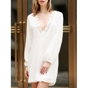 Plunge Lace Trim Long Sleeve Tunic Dress - White - Xl