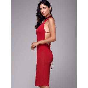 Sleeveless Strappy Backless Sheer Club Dress -