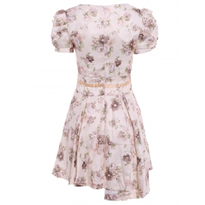 Vintage Peter Pan Collar Floral Print Bow Puff Sleeve Pleated Dress For Women - OFF-WHITE M