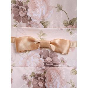Vintage Peter Pan Collar Floral Print Bow Puff Sleeve Pleated Dress For Women - OFF WHITE M