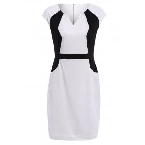 Color Block V-Neck Modern Style Sleeveless Polyester Women's Formal Dress -