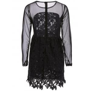 Stylish Round Collar Lace Floral Embroidery Long Sleeve Women's Dress - BLACK S