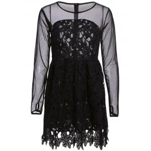Stylish Round Collar Lace Floral Embroidery Long Sleeve Women's Dress - Black - S