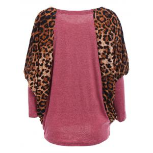 Casual Scoop Neck Color Splicing Leopard Print Long Sleeves Loose-Fitting Women's Sweater - RED ONE SIZE