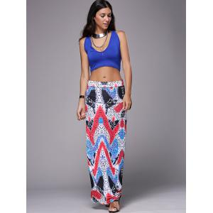 Casual Plung Neck Tank Top +  Long Zigzag Skirt Women's Twinset -
