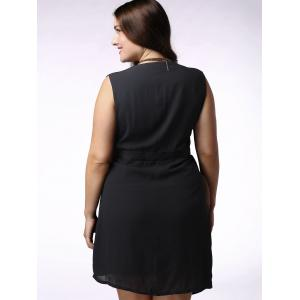 Plus Size Sleeveless Wrap Dress - BLACK 4XL