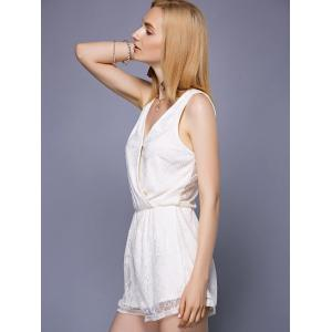 Stylish V-Neck See-Through Lace Romper For Women -