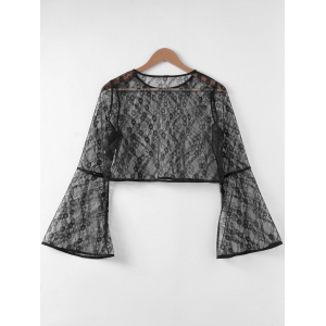 Fashionable Trumpet Sleeve Hollow Out Top For Women -
