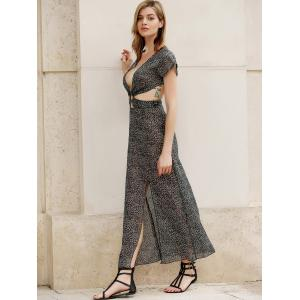 Trendy Plunging Neck Cut Out High Slit Printed Women's Dress -