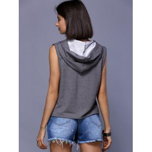 Chic Women's Hooded Print Sleeveless T-Shirt -