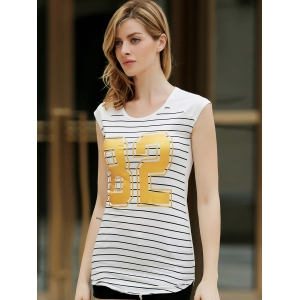 Stylish Short Sleeve Striped Gilding Mini Dress For Women - WHITE S