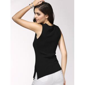 Simple Design V-Neck Ribbed Knit Tank Top For Women -