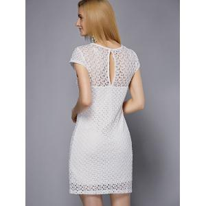 Stylish Scoop Neck Short Sleeve Cut Out Lace Dress For Women -