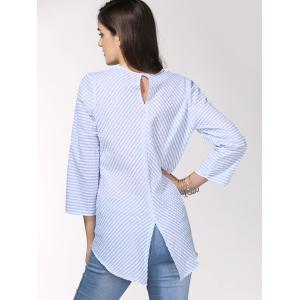 Brief Style Round Neck 3/4 sleeve Striped Shirt For Women -