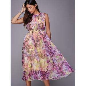 Sweet Sleeveless Self Tie Hollow Out Floral Dress For Women -