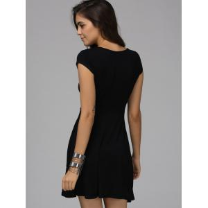 Trendy Plunging Neck Short Sleeve Lace Up Dress For Women -