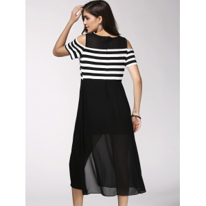 Trendy Short Sleeve Striped High Slit Hollow Out Women's Dress -