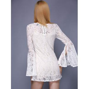 Stylish Round Neck Bell Sleeve Lace Dress For Women -