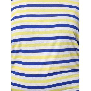 Casual Plus Size Batwing Sleeve Striped Pattern Women's T-Shirt - COLORMIX 3XL