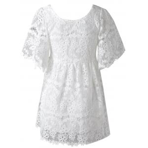 Cute High Waist Floral Openwork Bowknot Scoop Neck Bell Sleeve Lace Dress For Women -