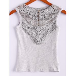 Lace Splicing Cotton Blend Scoop Neck Sleeveless Sweet Style Women's Vest - Gray - One Size