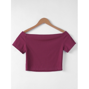 Contracted Flat Shouders Slim T-Shirt For Women - WINE RED XL