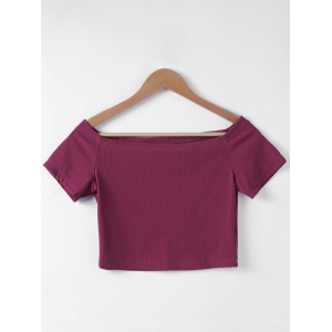 Contracted Flat Shouders Slim T-Shirt For Women