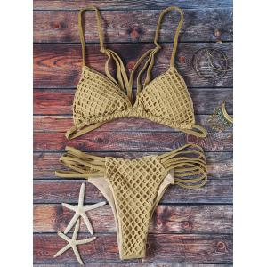 Fashion Spaghetti Straps Solid Color Mesh Bikini Set For Women