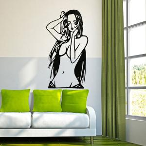 Creative Cartoon Beauty Girl Pattern Wall Sticker For Livingroom Bedroom Decoration - Black - 110
