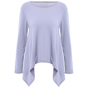Fashionable Scoop Neck Solid Color Asymmetric T-Shirt For Women - GRAY S