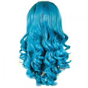 Trendy Long Shaggy Wave Black Ombre Blue Synthetic Lace Front Wig For Women -
