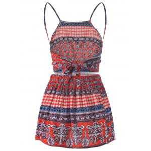 Spaghetti Strap Backless Top + Short Skirt Cinched Waist Printing Twinset For Women -