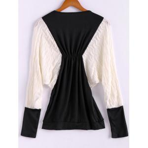 Plus Size Color Matching Batwing Long Sleeve Women's Sweater Dresses - BLACK ONE SIZE