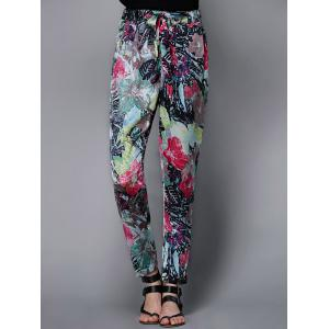 Stylish Drawstring Floral Print Pants For Women -