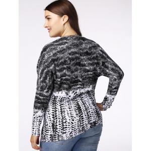 Casual Plus Size Long Sleeve PU Patchwork Women's T-Shirt -