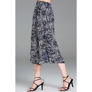 Printed Elastic Waist Cropped Wide Leg Pants -