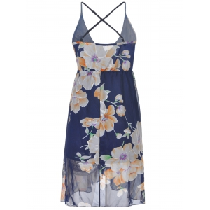 Fashionable Floral Printing Cross Sraps High Waist Dress For Women -