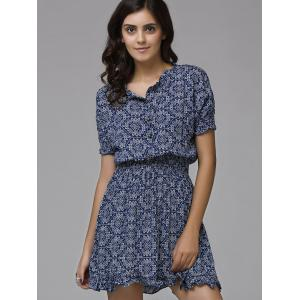 Print Front Button Frilled Dress -